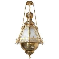 Midcentury Brass Moroccan Style Lantern from Kashmir