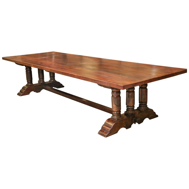 Wood Dining Table For Sale: Custom-Made 1920s Solid Teak Wood Plantation Dining Table