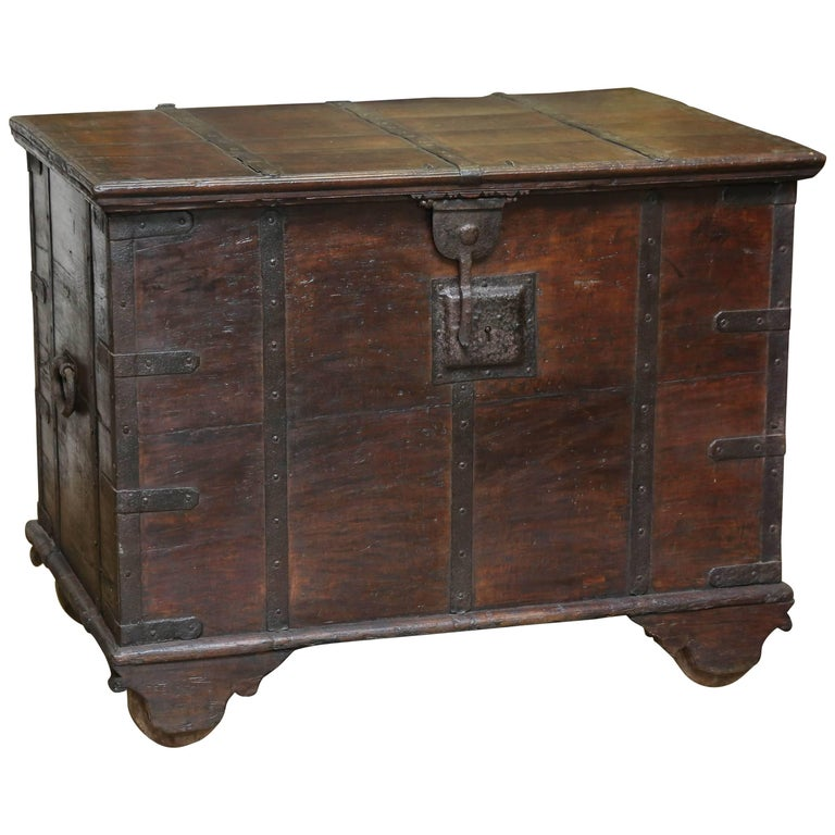 200 Years Old Solid Teakwood Dowry Chest from Goa, India