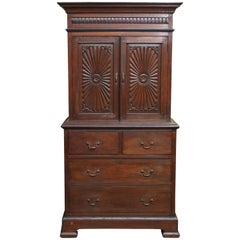 Two Parts 1870s Superbly Handcrafted Teak Wood British Colonial Cabinet