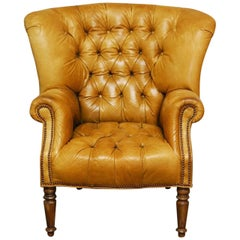 Georgian English Tufted Leather Chesterfield Library Chair or Wingback