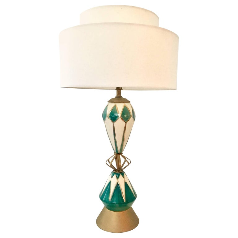 Mid-Century Modern Ceramic Glaze and Brass Sputnik Lamp