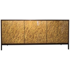 Gold Graffiti Sideboard, Art Door Cabinet, Custom Hand Painted