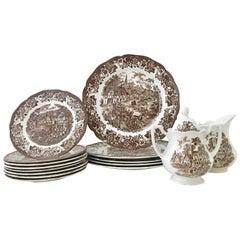 "Vintage English Royal Staffordshire Ironstone Dinnerware ""Stratford Stage"" S/16"