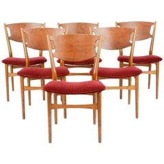 Set of Six Wahl Iversen Danish Dining Chairs for Møbelfabriken Falster, 1954
