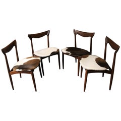 Four H. W. Klein Danish Teak Dining Chairs in Cowhide Upholstery