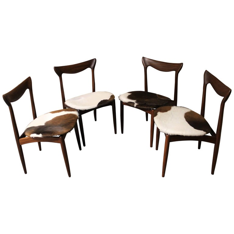08eb24ff771b Four H. W. Klein Danish Teak Dining Chairs in Cowhide Upholstery For Sale