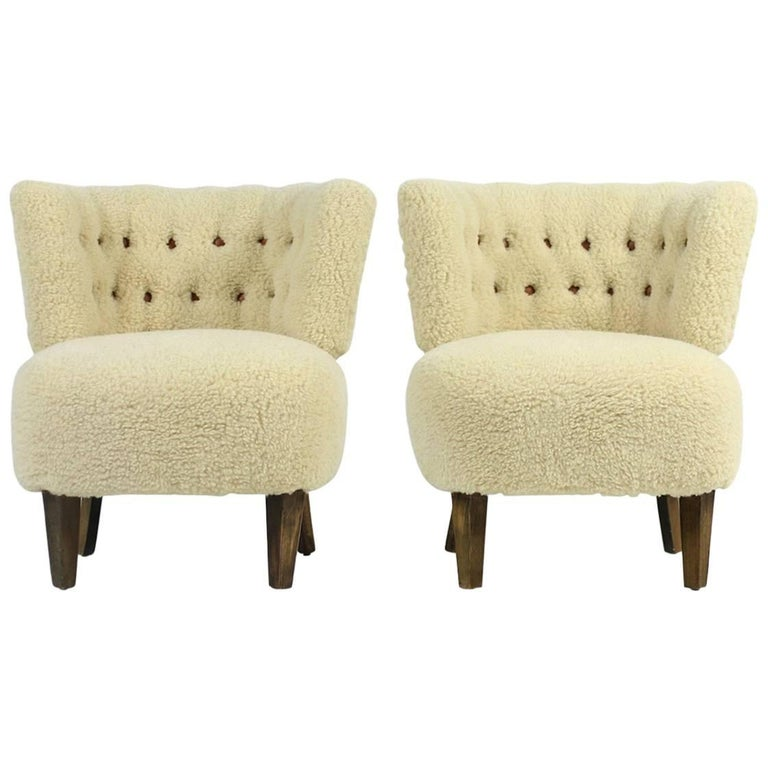 Pair of 1950s Otto Schultz Lounge Chairs Sheepskin & Leather, Mid-Century Modern For Sale
