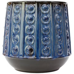 Textured Blue Mid-Century West German Vase or Pot by Jasba Pottery, circa 1970