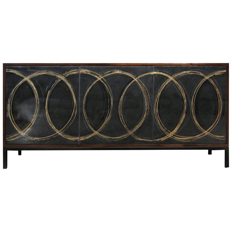 Gold Loop Sideboard Cabinet with Custom Art Work by Morgan Clayhall