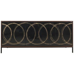 Gold Loop Sideboard, Art Door Cabinet, Custom Art Door Credenza