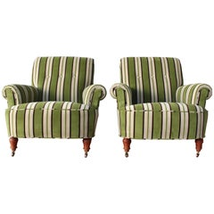 Pair of 1940s Velvet Striped Armchairs