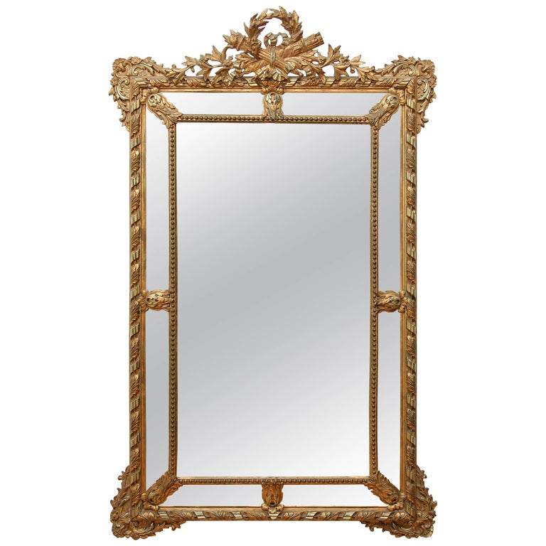 Large neoclassical gilt mirror french 19th century for for Big mirrors for sale