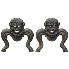 Pair of Cast Iron Character Andirons