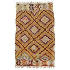 Vintage Turkish Kilim Rug with Southwestern Desert Style