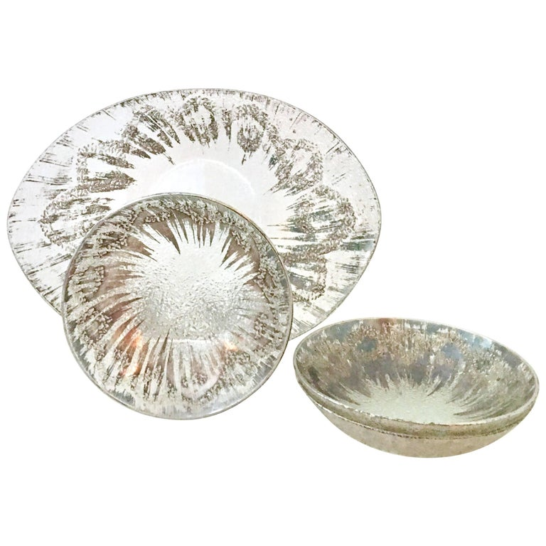 1960s Dorothy Thorpe Sterling Silver Overlay and Glass Serving Set of Four