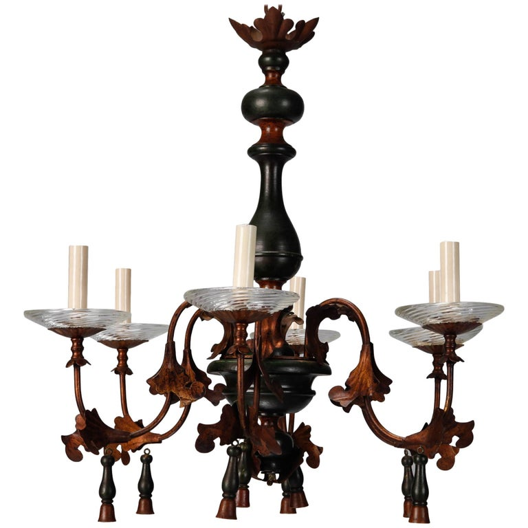 Italian Wood and Gilt Metal Six-Arm Chandelier 1