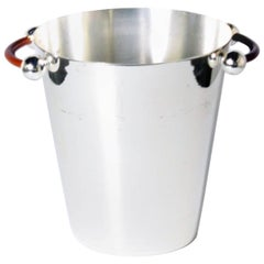 Silver Plated Ice Bucket with Tan Leather Handle, circa 1960
