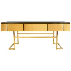 Italian 1970s Long Black and Gold Sideboard