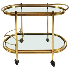 Italian 1950s Curved Brass Bar Cart or Drinks Trolley
