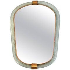 1950s Barovier e Toso Pale Blue Mirror