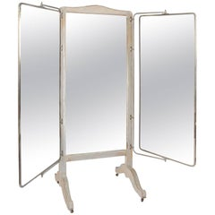 French 1930s Free-Standing Triple Mirror