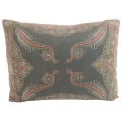 Kashmir Black and Red Paisley Lumbar Decorative Pillow