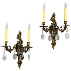 Pair Antique Louis XV Brass and Crystal Wall Sconces