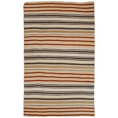 Striped Vintage Anatolian Kilim, Flat-Weave Wool Rug