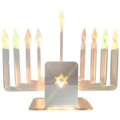 MOD 1970'S  Lucite and Mirror Nine-Light Judaica Hanukkah Menorah Table Lamp