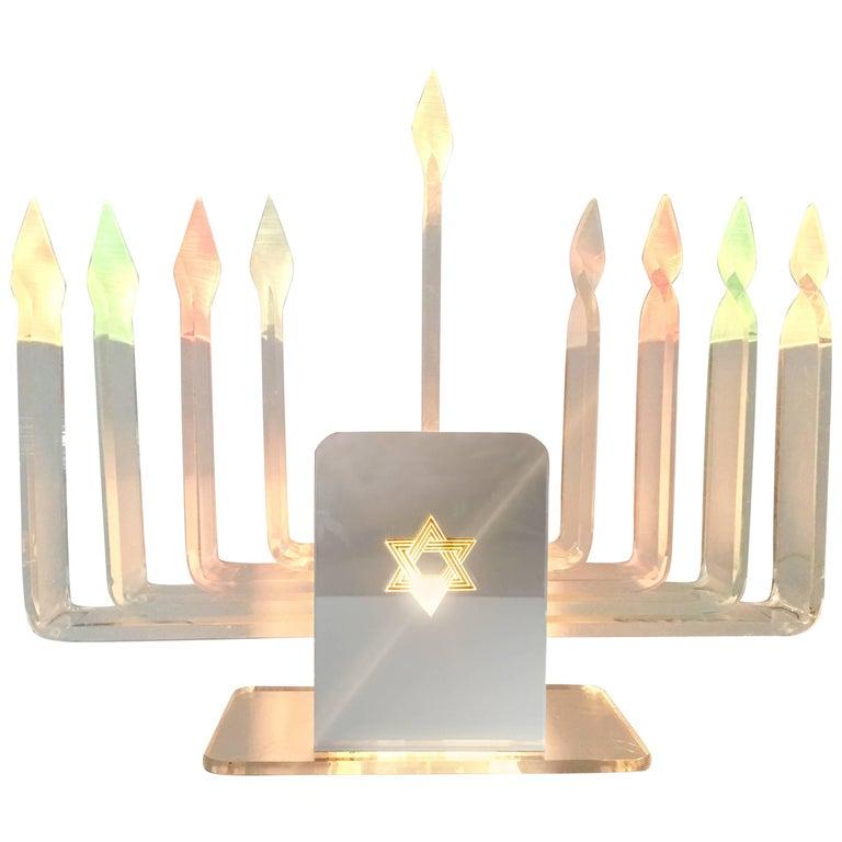 1970'S  Lucite & Mirror Nine-Light Judaica Hanukkah Menorah Table Lamp
