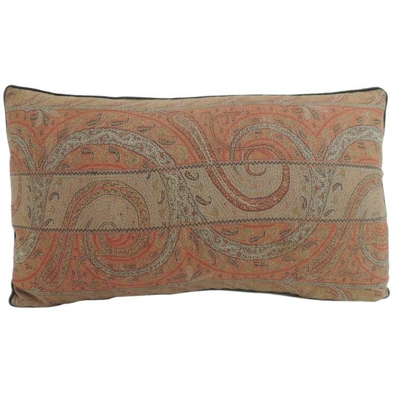 Antique kashmir paisley lumbar decorative pillow for sale at 1stdibs - Decorative throws for furniture ...