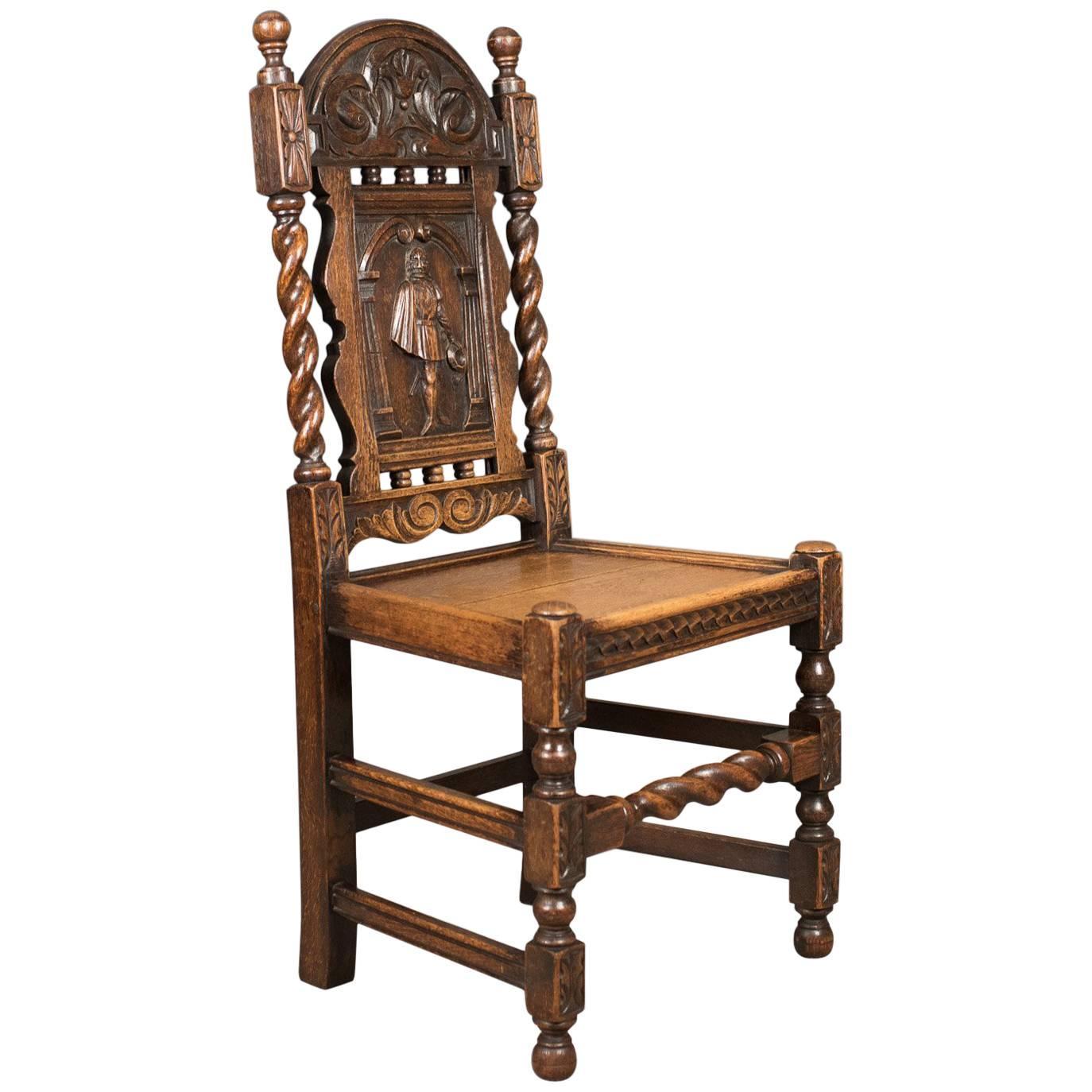 Antique Flemish Hall Chair, Carved Oak, Circa 1900