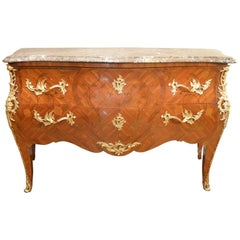 Large Louis XV Style Inlaid Commode