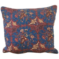 Block Printed with Baskets of Brown Flowers Blue cotton Pillow French c.1809