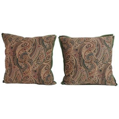 Pair of Vintage Cotton Printed Paisley Decorative Pillows