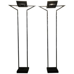Pair of Memphis Style Marble and Chrome Torcheres, Made in Italy