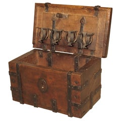 17th Century Walnut and Iron Table Trunk from France