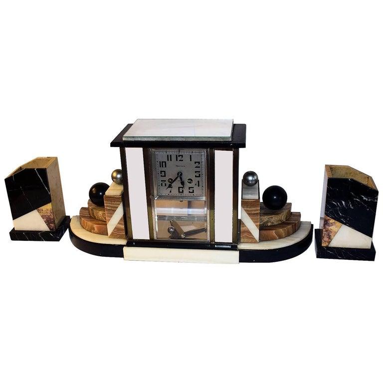Art Deco 1930s Mantle Clock with Garnitures
