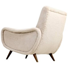 1960s Italian Lounge Chair Faux Teddy Bear Fur Zanuso Style Mid-Century Modern