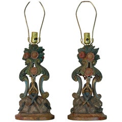 Pair of Late 18th Century Polychrome Venetian Carved Wood Candlesticks