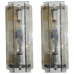 Pair of Mid-Century Modern Murano Glass Sconces by Veca