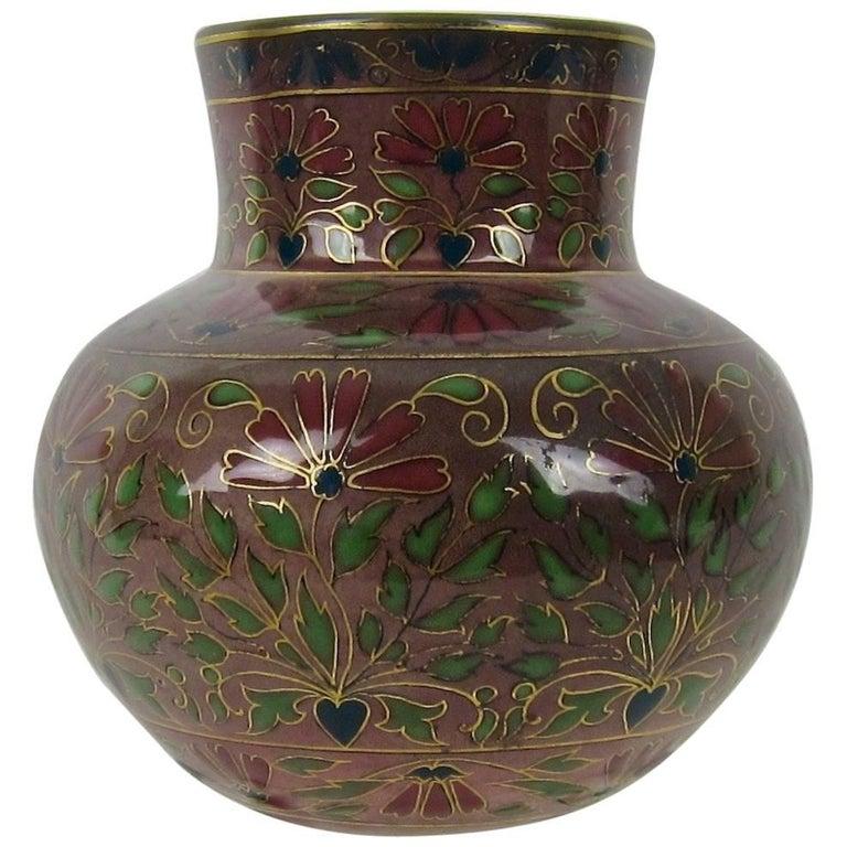 Antique Zsolnay Pecs Cloisonne-Style Vase in Porcelain Faience