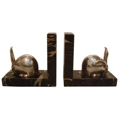 Art Deco Silvered Bronze Rabbit Bookends, Edouard-Marcel Sandoz