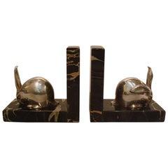 Art Deco Silvered Bronze Rabbit Bookends, Edouard-Marcel Sandoz