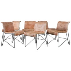 i4 Mariani Set of Six Leather and Chrome Dining Chairs, Italy, 1970s