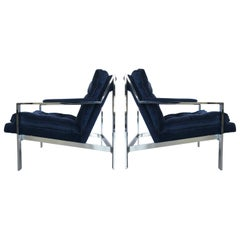 Pair of Chrome Flat Bar Lounge Chairs by Cy Mann