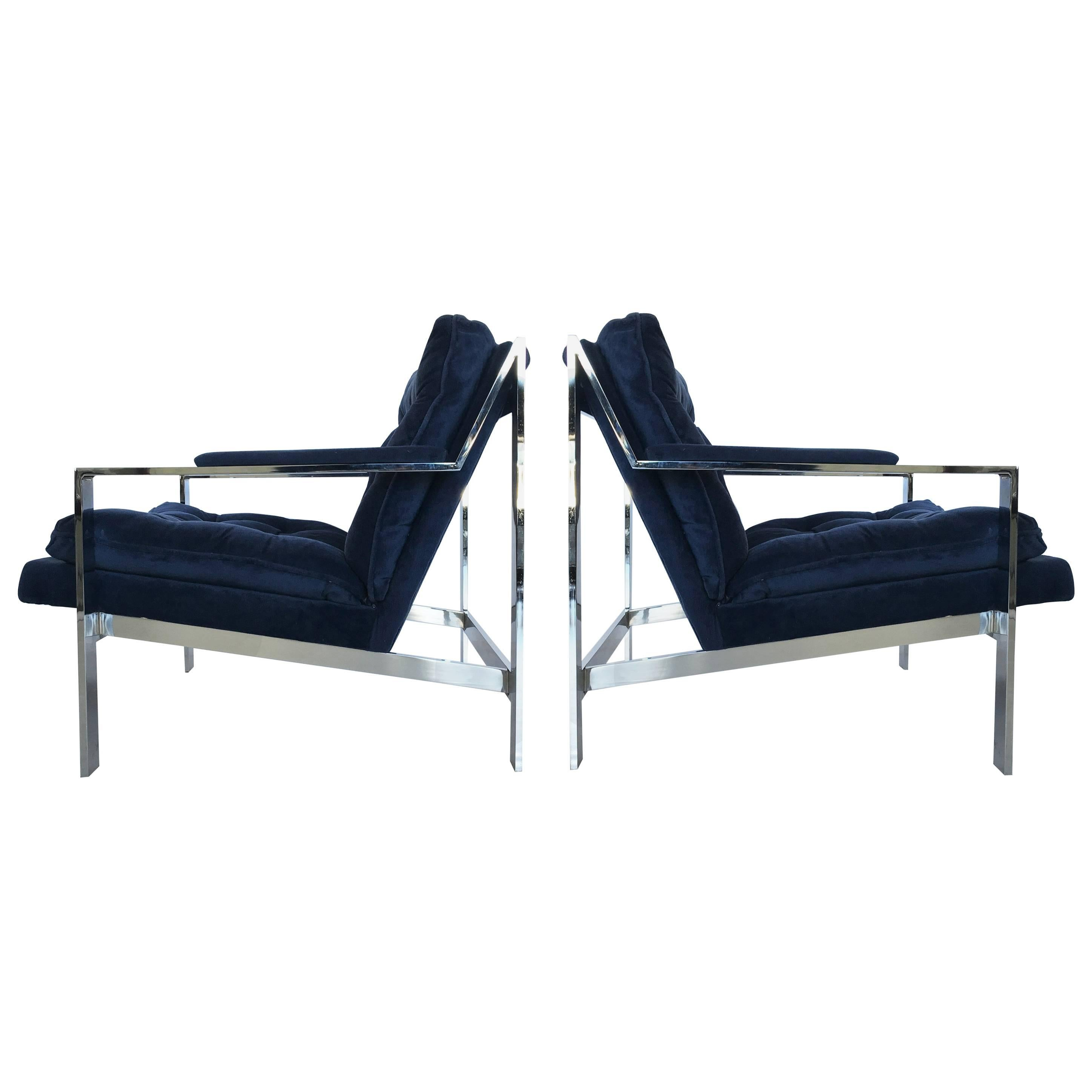 Pair Of Chrome Flat Bar Lounge Chairs By Cy Mann For Sale