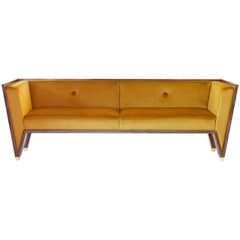Macassar Ebony Sofa With Gold Velvet Upholstery and Brass Feet