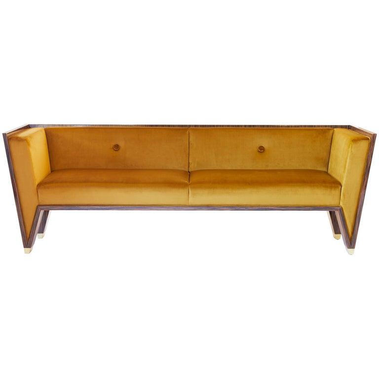 21st Century Handmade Custom Art Deco Sofa with Brass Feet & Velvet Upholstery For Sale
